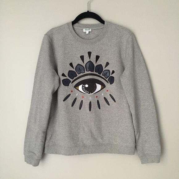 08a7071758 Kenzo Sweaters | Evil Eye Embroidered Gray Sweatshirt | Poshmark